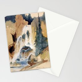 Crystal Falls Watercolour 1871 By Thomas Moran | Abstract Landscape Reproduction Stationery Cards