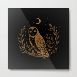 Owl Moon - Gold Metal Print