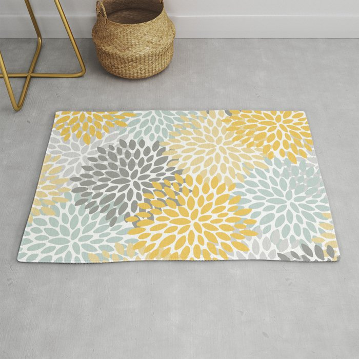 Floral Pattern, Yellow, Pale, Aqua, Blue and Gray Rug
