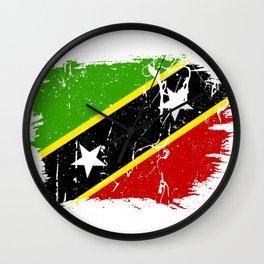 Distressed Saint Kitts and Nevis Flag Graffiti Wall Clock