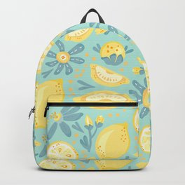Lemon Pattern Mint Backpack