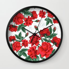The Red Roses #Spring #Flowers Wall Clock