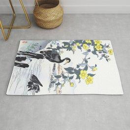 Two Cormorants And Yellow Flowers Near Lake - Antique Japanese Woodblock Print - Kono Bairei, 1883 Rug