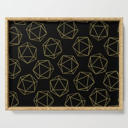 D20 Pattern - Gold and Black Serving Tray