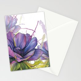 Purple Watercolour Ink Splash Floral Anemone painting Stationery Cards