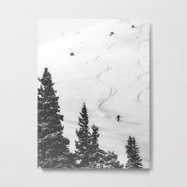 Backcountry Skier // Fresh Powder Snow Mountain Ski Landscape Black and White Photography Vibes Metal Print