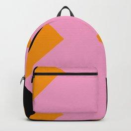 Vertical black and orange waves, in a pink sea, near three black orange mountains. Backpack