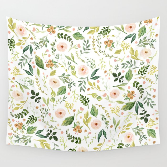 Botanical Spring Flowers Wall Tapestry