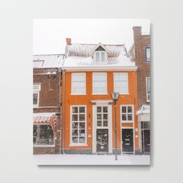 Orange Winter House in the Snow   Travel & City Photography in Hanzestad the Netherlands, Europe Metal Print