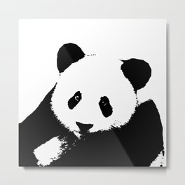Giant Panda in Black & White Metal Print