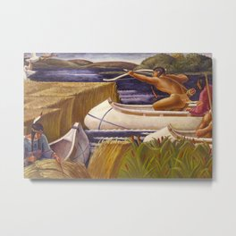 Sioux Native American Hunters on Lake Vermilion, Minnesota Territory landscape by Margaret Martin Metal Print