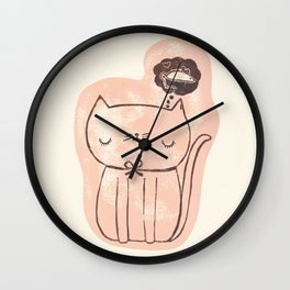 Kitty Daydream in Pink Wall Clock