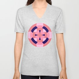 Simple geometric boat helm in blue and pink Unisex V-Neck
