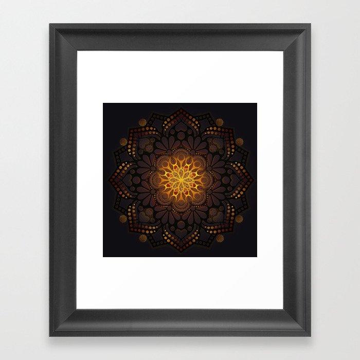 """Warm light Moroccan lantern Mandala"" Gerahmter Kunstdruck"