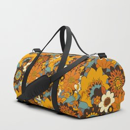 70s Retro Flower Power 60s floral Pattern Orange yellow Blue Duffle Bag