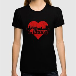 Retro Ithaca New York Skyline Heart T-shirt