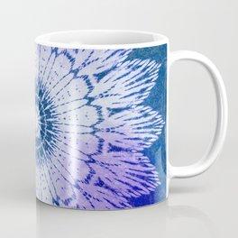 tie dye sunflower mandala in blues Coffee Mug
