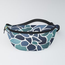 Festive, Flower Bloom, Navy Blue and Teal Fanny Pack