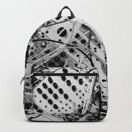 analog synthesizer  - diagonal black and white illustration Backpack
