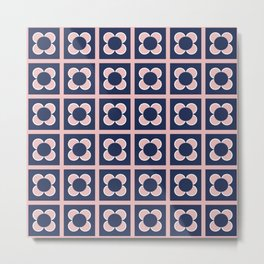 Scandi Flower Minimalist Mid Century Floral Pattern 2 in Pink, White, and Navy Blue Metal Print