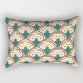 Fan Pattern Brown and Green 991 Rectangular Pillow