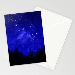 Blue Galaxy Forest Night Sky Stationery Cards