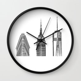 New York City Iconic Buildings-Empire State, Flatiron, One World Trade Wall Clock