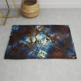 Sapphire and opal colors in an abstract pattern Rug