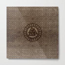 Valknut Symbol and Runes on Celtic Pattern on Wood Metal Print