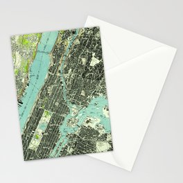 Vintage Central Park & Bronx NY Map (1947) Stationery Cards