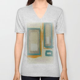 Soft And Bold Rothko Inspired - Corbin Henry Modern Art - Teal Blue Orange Beige Unisex V-Neck