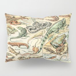 Reptiles II by Adolphe Millot // XL 19th Century Snakes Lizards Alligators Science Textbook Artwork Pillow Sham