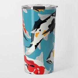 Colorful Koi Carps Swimming Around Travel Mug