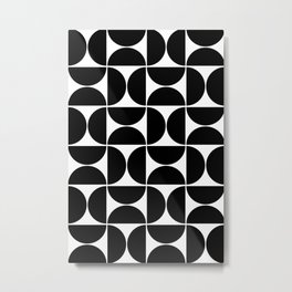 Modern Geometric Seamless Black Pattern Mid Century Metal Print
