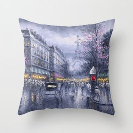 City of Lights, Eiffel Tower, Twilight Paris, France Street Scene landscape painting Throw Pillow