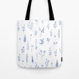 Wildflowers in blue Tote Bag