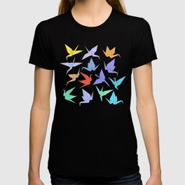 Japanese Origami paper cranes symbol of happiness, luck and longevity T-shirt