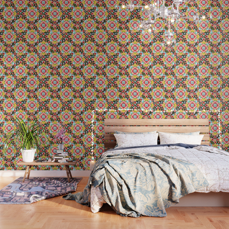 Groovy Cosmic Chintz Wallpaper by patriciasheadesigns | Society6
