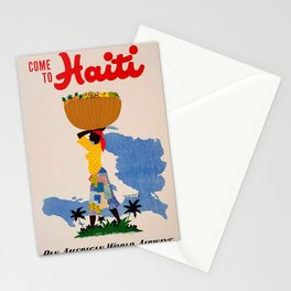 Vintage Come to Haiti Stationery Cards