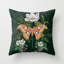 Atlas Moth Magnolia Throw Pillow