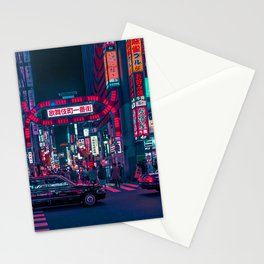 Cyberpunk Tokyo Street Stationery Cards