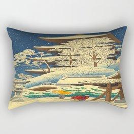 Japanese Woodblock Print Vintage Asian Art Colorful woodblock prints Shrine At Night Snow White Rectangular Pillow