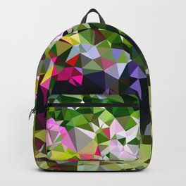 Abstract Water Lily Pond After Monet Low Poly Geometric Triangles  Backpack