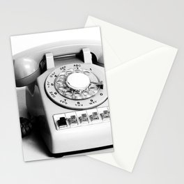 retro telephone - black and white Stationery Cards