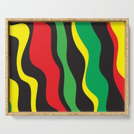 Red Yellow Green Black Rasta Wave Serving Tray
