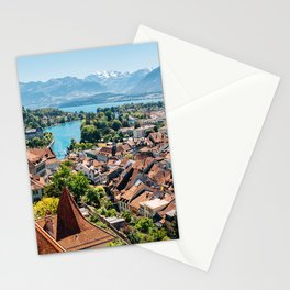 Swiss Thun old town with Alps mountain Stationery Cards
