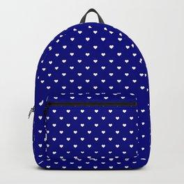 Mini White Love Hearts on Dark Navy Blue Backpack