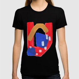Minimalist Abstract Fun Mid Century Colorful Primary Colors Red Yellow Blue Juvenile Playful Pattern T-shirt