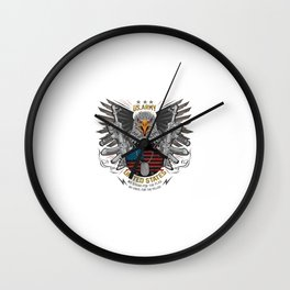 Eagle Head Usa America Country With Gun Weapon Ak 47 Wings Iron Usa Flag Vector Wall Clock
