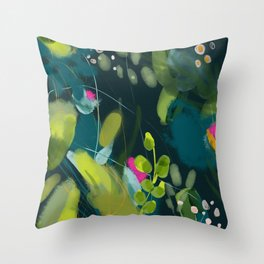 abstract jungle fever leaves in floral green Throw Pillow